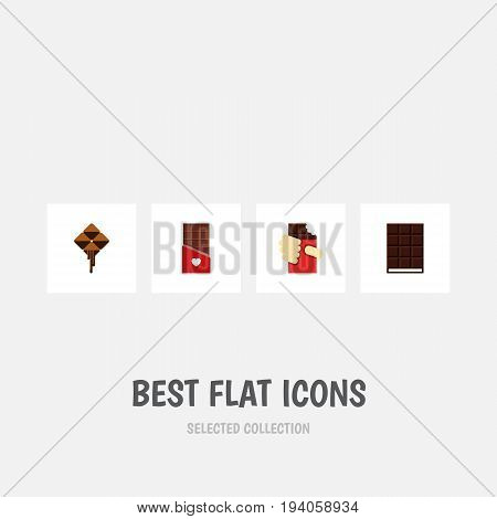 Flat Icon Sweet Set Of Dessert, Shaped Box, Chocolate And Other Vector Objects. Also Includes Shaped, Box, Wrapper Elements.