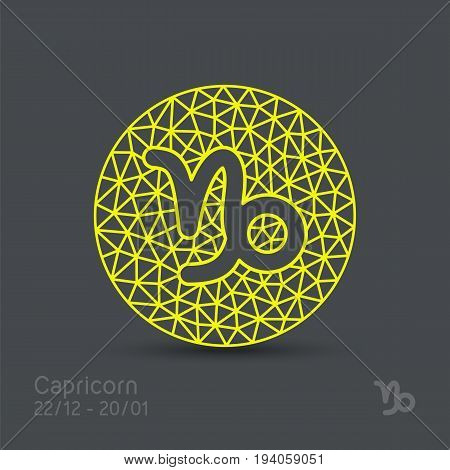 Capricorn zodiac sign in circular frame, vector Illustration. Contour icon.