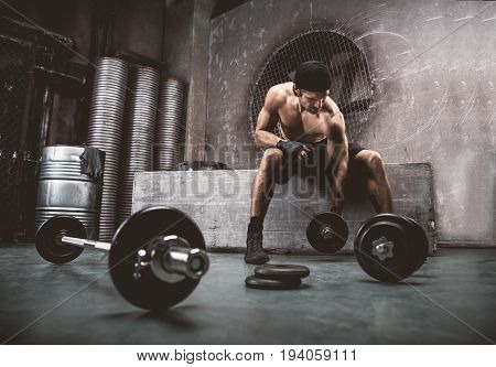 Athlete training in a gym - Functional training workout