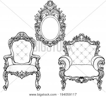 Rich Imperial Baroque Rococo furniture and frames set. French Luxury carved ornaments. Vector Victorian exquisite Style decorated frame