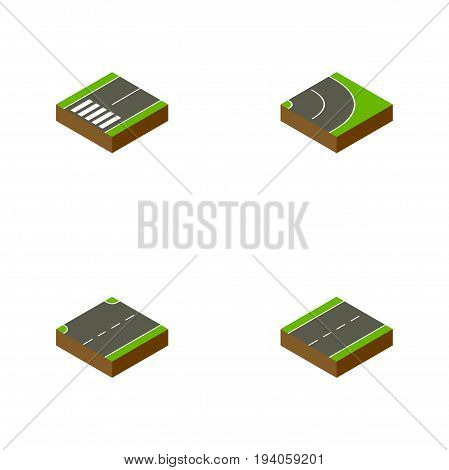 Isometric Way Set Of Asphalt, Upwards, Footpassenger And Other Vector Objects. Also Includes Driveway, Single, Asphalt Elements.