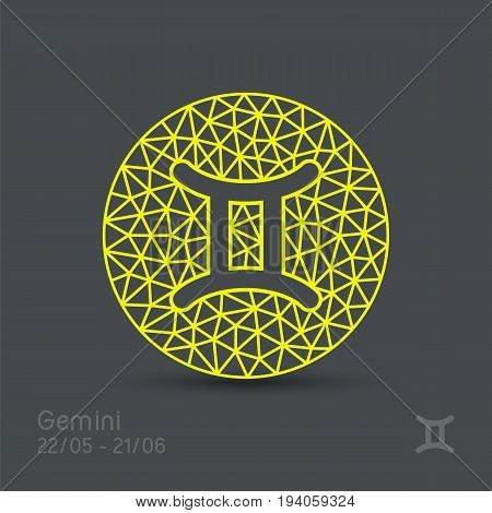Gemini zodiac sign in circular frame, vector Illustration. Contour icon.