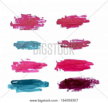Strokes of nail Polish isolated white background.