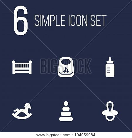 Set Of 6 Child Icons Set.Collection Of Toy, Teat, Milk And Other Elements.