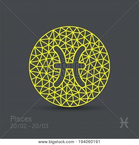 Pisces zodiac sign in circular frame, vector Illustration. Contour icon.