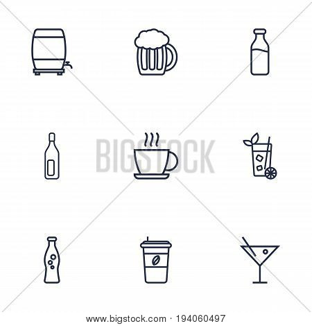 Set Of 9 Drinks Outline Icons Set.Collection Of Wine Cask, Hot Drink, Mojito And Other Elements.