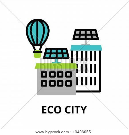 Modern flat line design icon concept of Eco city technologies of future and urban innovations for graphic and web design