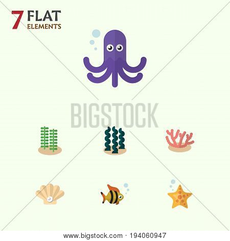 Flat Icon Marine Set Of Algae, Seafood, Seaweed And Other Vector Objects. Also Includes Seashell, Fish, Alga Elements.