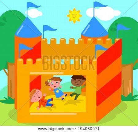 Children playing in bouncy castle cartoon vector illustration