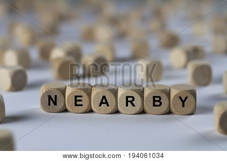 Nearby - Cube With Letters, Sign With Wooden Cubes