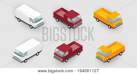 Isometric delivery vans, trucks set, vector illustration. Cargo land delivery transportation concept. Flat vehicle mini van, trailer side view.