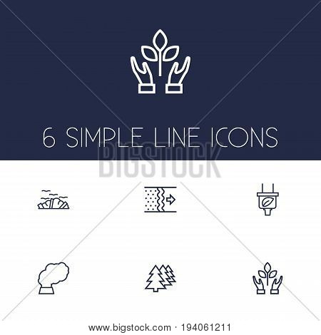Set Of 6 Ecology Outline Icons Set.Collection Of Afforestation, Plug, Air And Other Elements.
