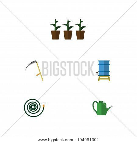 Flat Icon Farm Set Of Hosepipe, Flowerpot, Bailer And Other Vector Objects. Also Includes Scythe, Can Bailer, Container Elements.