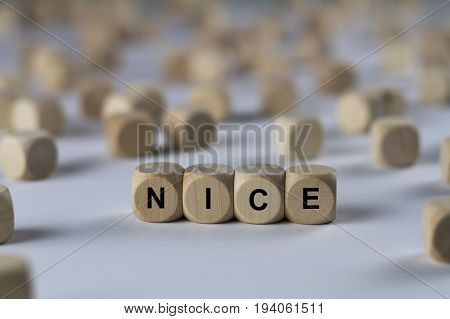 Nice - Cube With Letters, Sign With Wooden Cubes