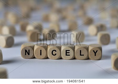 Nicely - Cube With Letters, Sign With Wooden Cubes