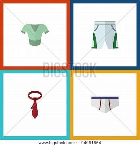Flat Icon Garment Set Of Cravat, Underclothes, Casual And Other Vector Objects. Also Includes Cloth, Cravat, Tie Elements.