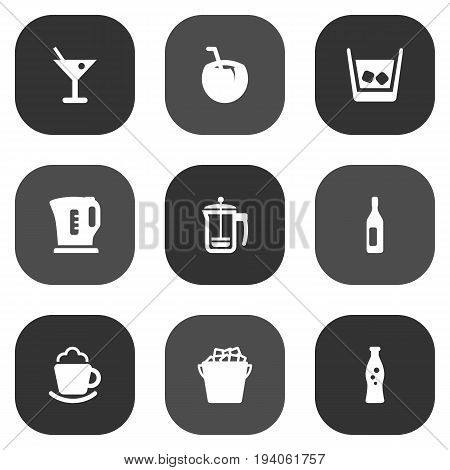 Set Of 9 Beverages Icons Set.Collection Of Fridge, Fizzy Water, Cognac And Other Elements.