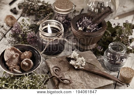 Toned close up with black candle, mushrooms, diary and healing herbs. Alternative medicine, old pharmaceutic and homeopathic concept. Mystic and occult still life, vintage medical background