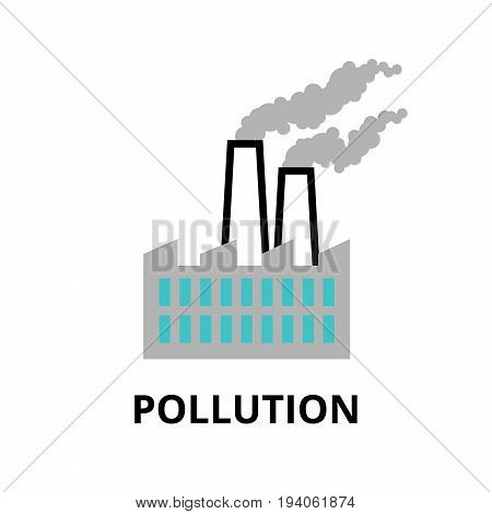 Modern flat thin line design icon vector illustration infographic concept of pollution and bad ecology for graphic and web design