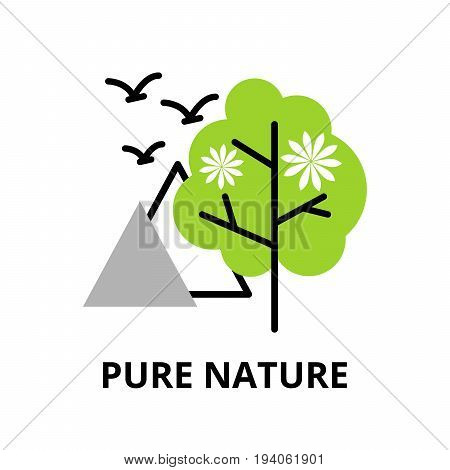 Modern flat thin line design icon vector illustration infographic concept of pure nature and environmental protection for graphic and web design