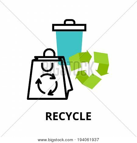 Modern flat thin line design icon vector illustration infographic concept of recycle and environmental protection for graphic and web design