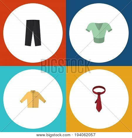 Flat Icon Garment Set Of Cravat, Banyan, Casual And Other Vector Objects. Also Includes Shirt, Clothes, Pants Elements.