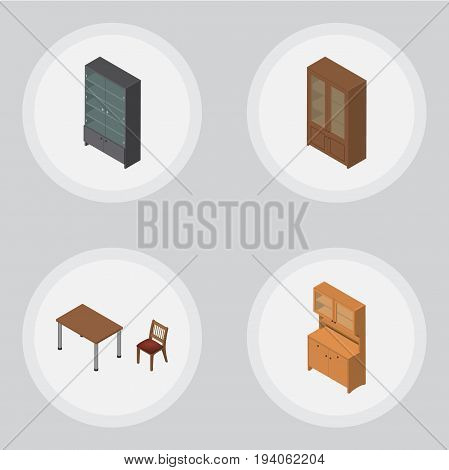 Isometric Furniture Set Of Cabinet, Cupboard, Sideboard And Other Vector Objects. Also Includes Cupboard, Sideboard, Table Elements.