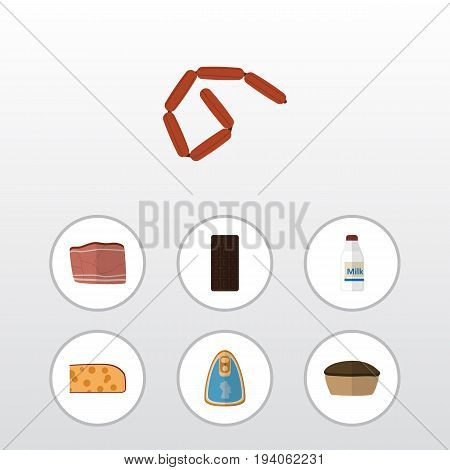 Flat Icon Meal Set Of Bratwurst, Tart, Beef And Other Vector Objects. Also Includes Confection, Tasty, Beef Elements.