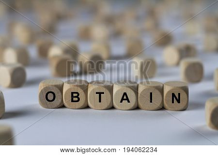 Obtain - Cube With Letters, Sign With Wooden Cubes