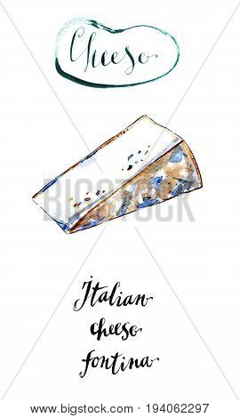 Piece of Italian cheese Fontina in watercolor hand drawn illustration
