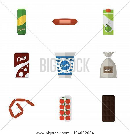 Flat Icon Food Set Of Confection, Spaghetti, Packet Beverage And Other Vector Objects. Also Includes Bar, Frankfurt, Drink Elements.