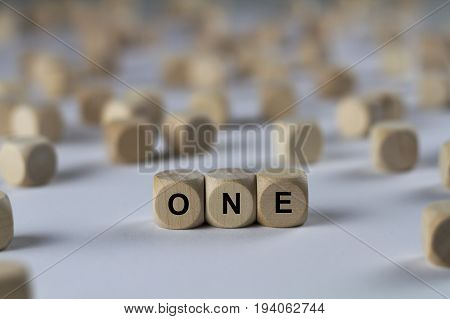 One - Cube With Letters, Sign With Wooden Cubes