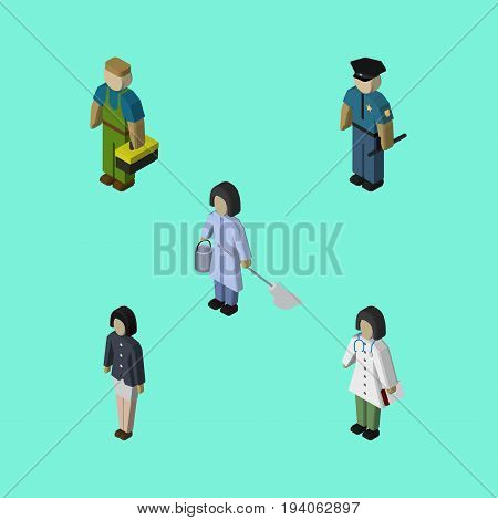 Isometric Person Set Of Officer, Plumber, Girl And Other Vector Objects. Also Includes Police, Housekeeper, Officer Elements.
