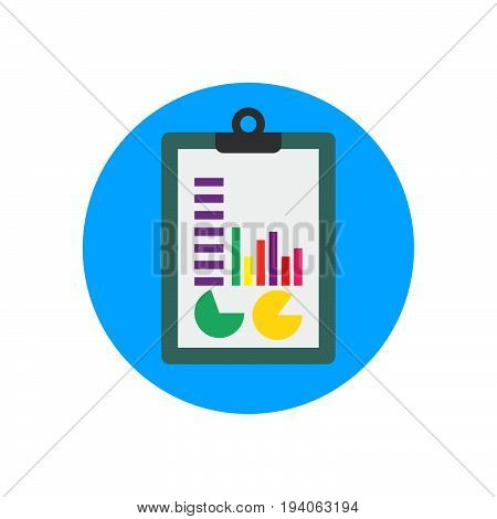 Clipboard and charts flat icon. Round colorful button Financial infographic circular vector sign logo illustration. Flat style design