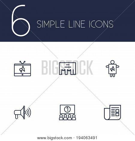 Set Of 6 Advertising Outline Icons Set.Collection Of Worker, Promotion, Newspaper And Other Elements.