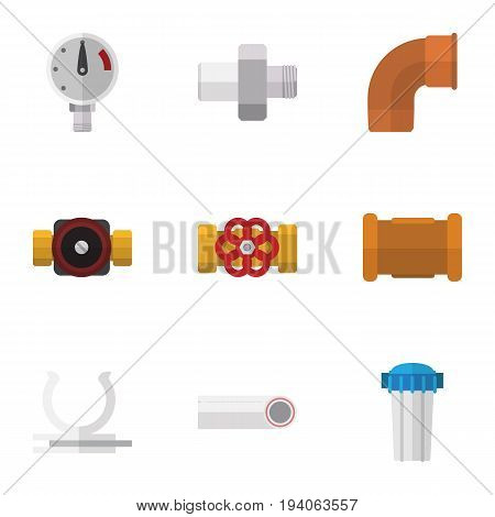 Flat Icon Plumbing Set Of Water Filter, Connector, Pipe And Other Vector Objects. Also Includes Holder, Filter, Plumbing Elements.