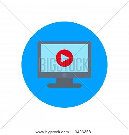 Monitor with video player flat icon. Round colorful button circular vector sign logo illustration. Flat style design