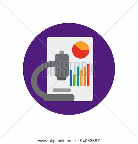 Microscope and charts flat icon. Round colorful button Data analysis circular vector sign logo illustration. Flat style design