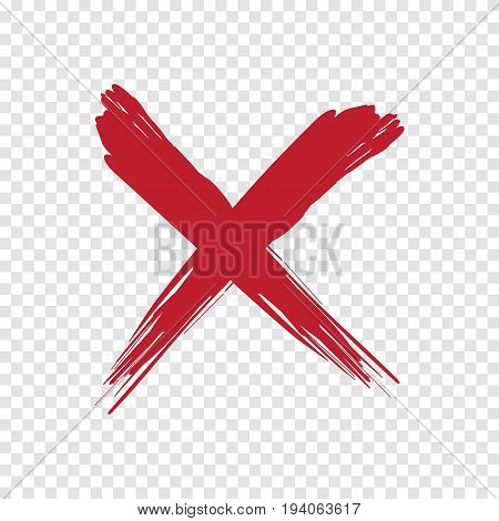 X red brush grunge stylish illustration on