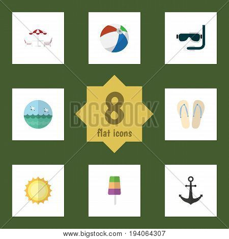Flat Icon Summer Set Of Recliner, Ship Hook, Sundae And Other Vector Objects. Also Includes Anchor, Aqualung, Ball Elements.