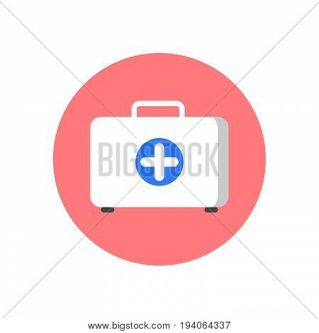 First aid kit flat icon. Round colorful button Doctor bag circular vector sign logo illustration. Flat style design