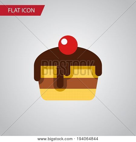 Isolated Pastry Flat Icon. Dessert Vector Element Can Be Used For Pastry, Dessert, Cake Design Concept.