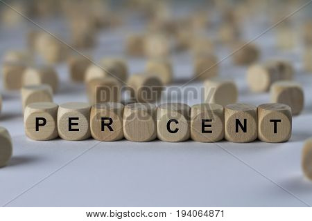 Per Cent - Cube With Letters, Sign With Wooden Cubes