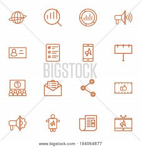 Set Of 16 Trade Outline Icons Set.Collection Of Client Brief, Mobile Marketing, Worker And Other Elements.