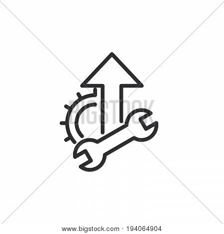 Wrench cogwheel and up arrow line icon outline vector sign linear style pictogram isolated on white. Optimization Symbol logo illustration