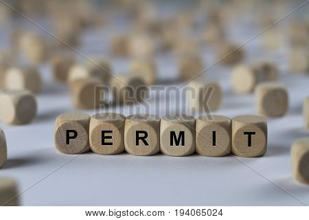 Permit - Cube With Letters, Sign With Wooden Cubes