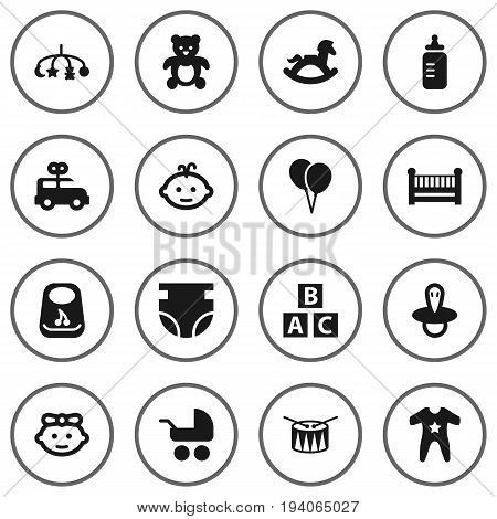 Set Of 16 Kid Icons Set.Collection Of Bear, Pram, Smock And Other Elements.