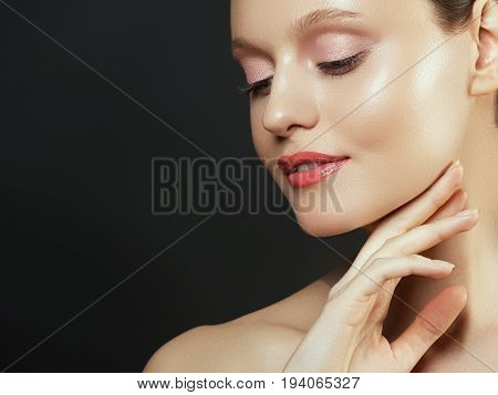 Woman Beauty Face Portrait Isolated On White With Healthy Skin