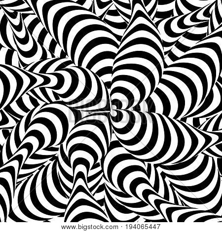 Abstract Striped Background. Spiral Vortex Phenomenon. Black And White Hypnosis, Rays. Optical Art