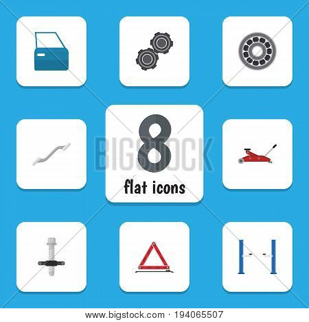 Flat Icon Workshop Set Of Warning, Belt, Brake Disk And Other Vector Objects. Also Includes Part, Bearing, Automobile Elements.